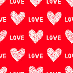 Seamless Red Love Saint Valentine's Day Pattern Background with Little Cute White Hearts