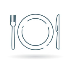 Plate, knife and fork icon. Cutlery and crockery sign. Eating utensils set symbol. Thin line icon on white background. Vector illustration.