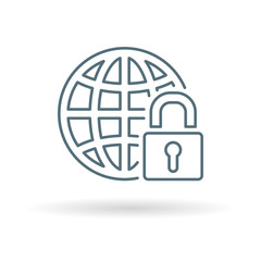 Secure internet icon. Globe with padlock sign. Secure globe symbol. Thin line icon on white background. Vector illustration.