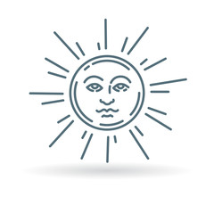 Sun face icon. Sun face sign. Sun face symbol. Thin line icon on white background. Vector illustration.