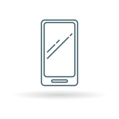 Modern Smartphone icon. Cellphone sign. Mobile phone symbol. Thin line icon on white background. Vector illustration.