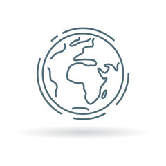 Planet earth icon. Planet earth sign. Planet earth symbol. Thin line icon on white background. Vector illustration.