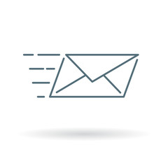 Speed mail icon. Email send sign. Mail courier symbol. Thin line icon on white background. Vector illustration.