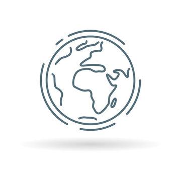 Planet earth icon. Planet earth sign. Planet earth symbol. Thin line icon on white background. Vector illustration.