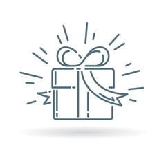 Christmas gift box icon. Present sign. Birthday gift symbol. Thin line icon on white background. Vector illustration.