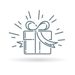 Christmas gift box icon. Present sign. Birthday gift symbol. Thin line icon on white background. Vector illustration.