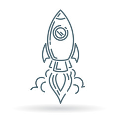 Rocket launch icon. Spaceship launch sign. Spacecraft launch symbol. Thin line icon on white background. Vector illustration.
