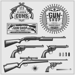 Weapons set. Revolvers, pistols, rifles, bullets and labels.