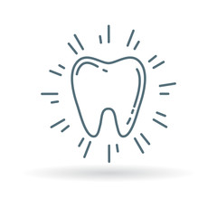 Healthy glowing tooth icon. Sparkling clean tooth sign. Cavitiy free white teeth symbol. Thin line icon on white background. Vector illustration.