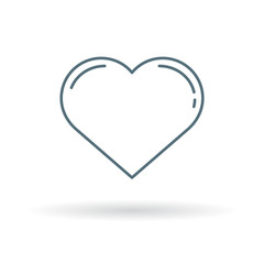 Valentines heart icon. Simple heart sign. Love symbol. Thin line icon on white background. Vector illustration.