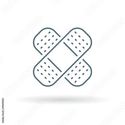 Bandaid Icon Bandage Sign Plaster Symbol Thin Line Icon On White