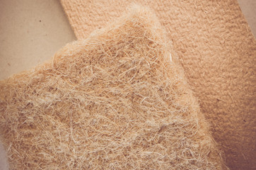 thermal building insulation hemp fiber panels close up