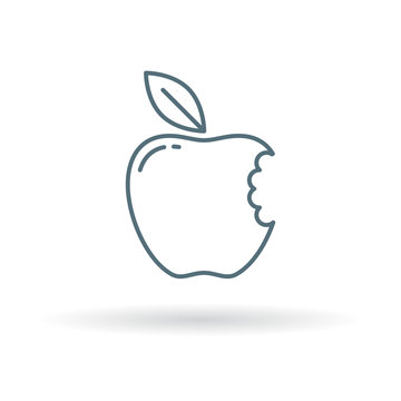 Eat apple icon. Apple bite sign. fresh fruit symbol. Thin line icon on white background. Vector illustration.