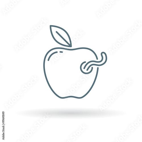 Rotten Apple Icon Worm In Apple Sign Bad Apple Symbol Thin Line