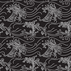 Rolling Waves seamless pattern. Hand drawn seamlessly repeating ornamental wallpaper or textile pattern with wave motives.