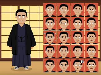 Japanese Man Cartoon Emotion faces Vector Illustration