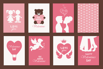 set of greeting cards for Valentine's Day. vector illustration