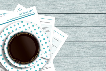 UK tax form with coffee lying on wooden desk
