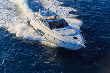 luxury motoryacht in  navigation