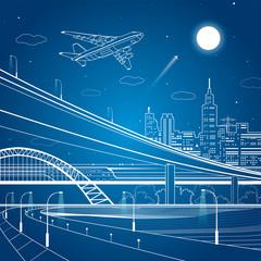 Car overpass, city infrastructure, urban plot, plane takes off, train move, vector design art