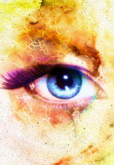 Woman Eye and cosmic space with stars and flash.  abstract color background, eye contact.