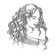 Sketch of a beautiful girl with curly hair. Black and white. Fas