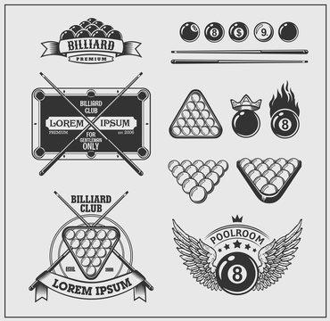 Set of billiards labels, emblems and design elements.