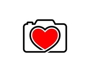 camera heart love logo