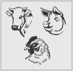 Heads of farm animals. Cow, pig and chicken. Vector monochrome design.