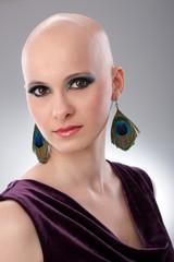Studio portrait of hairless woman