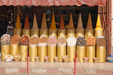 The shop with seasonings and spices in Marrakech