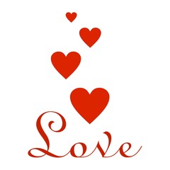 Valentines greeting with red flying hearts and red inscription love under the hearts on a white background