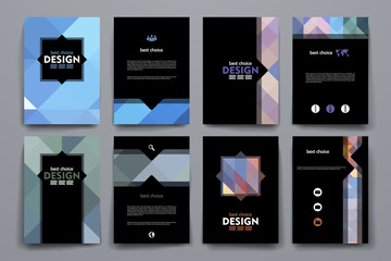Set of brochure, poster design templates in abstract style