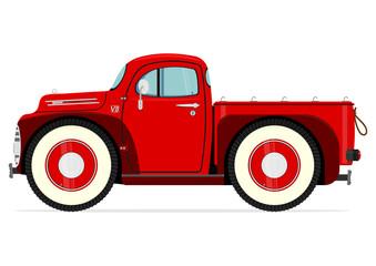 Retro cartoon truck on a white background. Vector