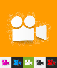 video paper sticker with hand drawn elements