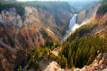 Fototapeta Lower Falls - Sunlight illuminates the spray as the Yellowstone River crashes over the Lower Falls in Yellowstone's Grand Canyon.