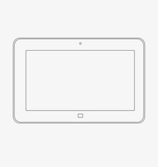 Mock up of a tablet on a white background