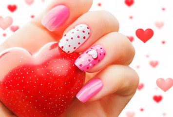 Aluminium Prints Manicure Valentine day holiday nail art manicure