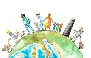 Illustration of people different nationalities going on a Earth.Picture created with watercolors.