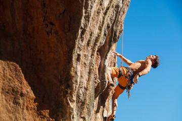 Rock climbing close-up