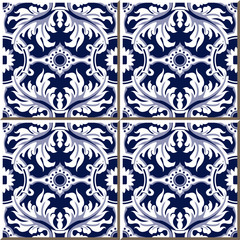 Vintage seamless wall tiles of spiral leaf flower, Moroccan, Portuguese.
