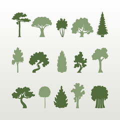 Different types of trees vector.