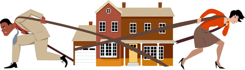 Man and woman pulling a house apart as a metaphor for a divorce and division of assets, EPS 8 vector illustration, no transparencies