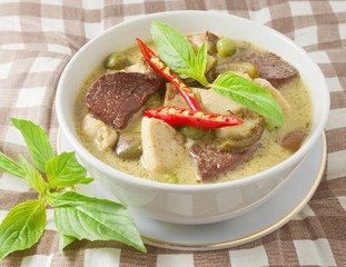 Bowl of Thai Spicy Green Curry with Chicken