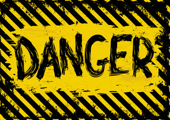 grunge background with yellow and black danger symbol Wall mural