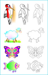 Educational page for young children. Developing skills for drawing and coloring. Vector image.