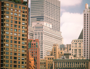 Close up of downtown New York City skyline