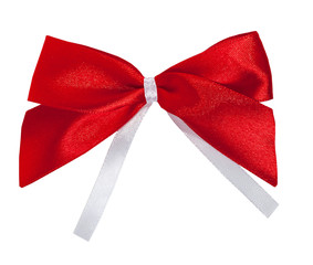 Red satin bow white ribbon isolated