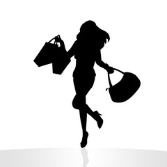 Girl shopping lady silhouette llustration Single