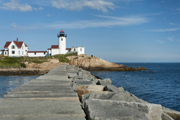 Eastern Point Lighthouse View from Jetty, in Gloucester, Massachusetts